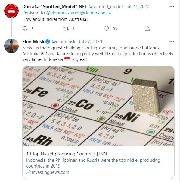Cuitan Elon Musk yang menyebutkan mengenai nikel Indonesia (sumber: twitter.com)